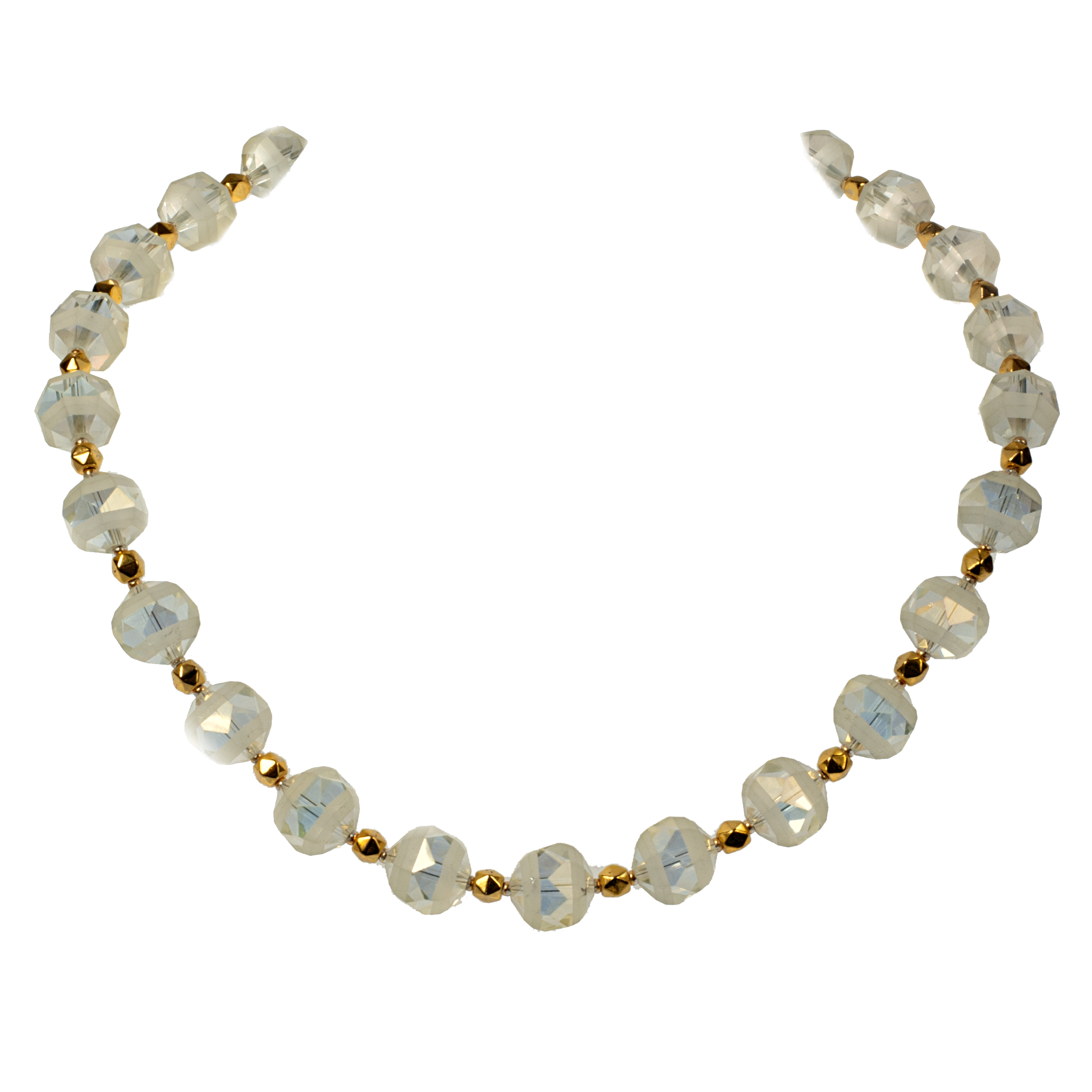 Pale Yellow And Gold Crystal Necklace - KJKStyle