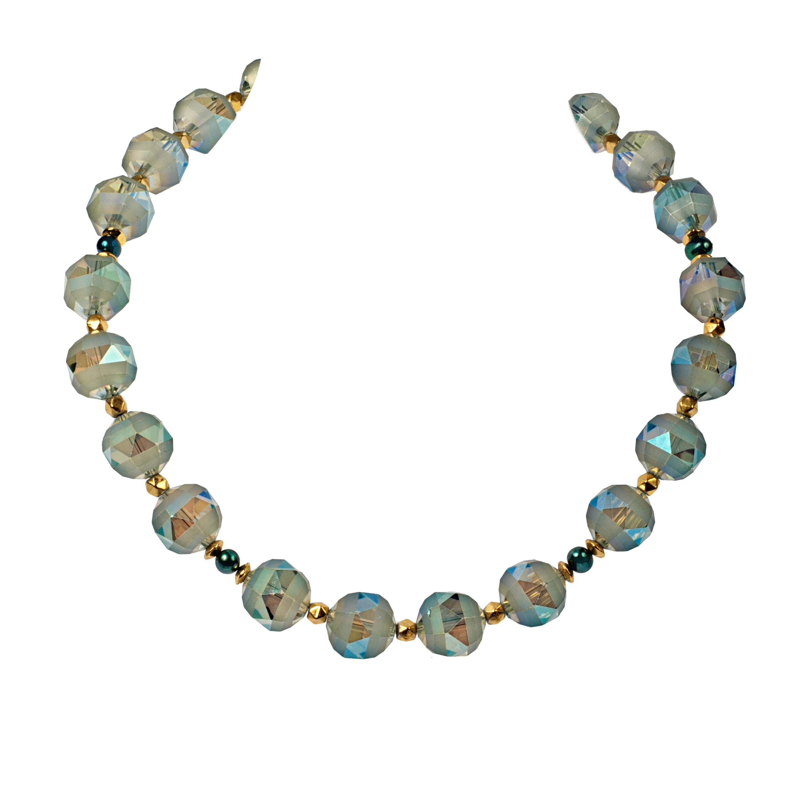 Faceted Crystal and Cultured Pearl Necklace - KJKStyle