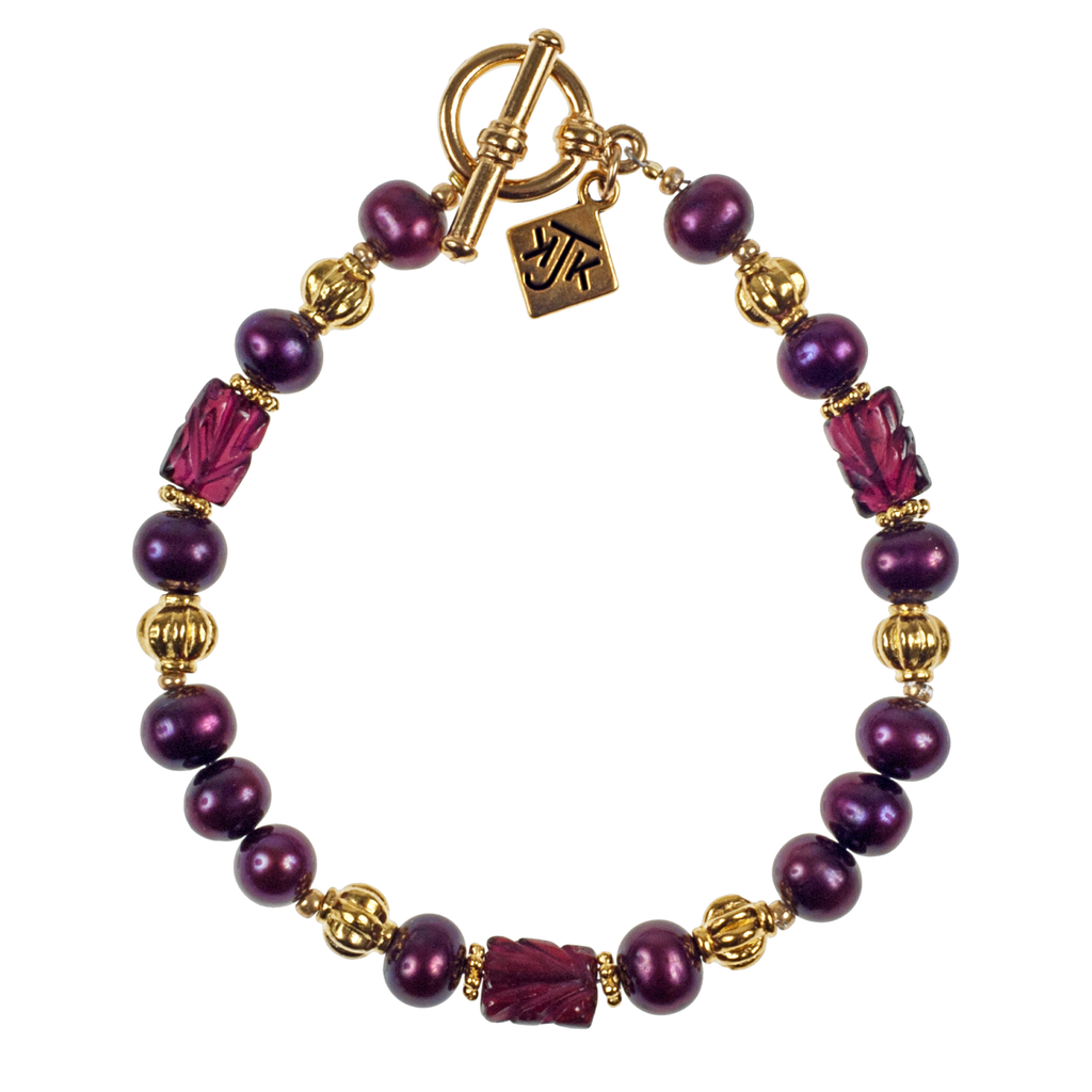 Carved Garnet & Cranberry Cultured Pearl Bracelet - KJKStyle