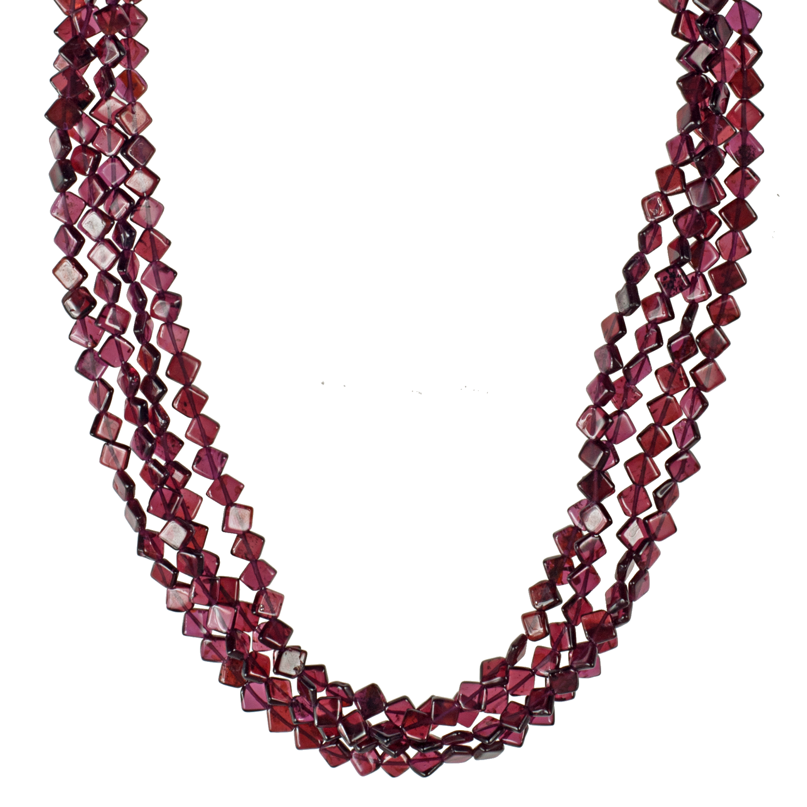 4 Strand Diamond Shape Garnet & Sterling Necklace - KJKStyle