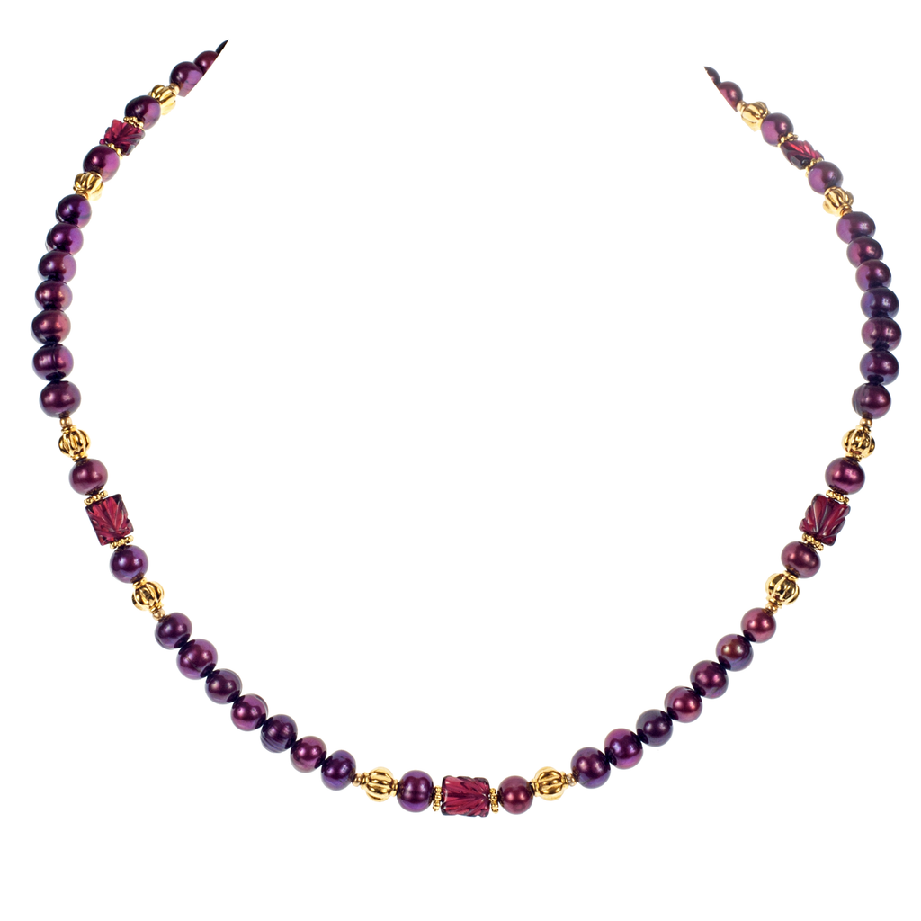 Carved Garnet & Cranberry Cultured Pearl Choker - KJKStyle