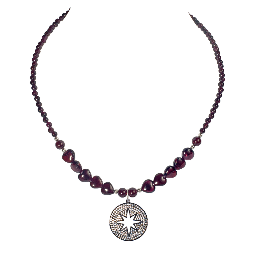 Pave Open Star Pendant With Garnet Hearts Necklace - KJKStyle