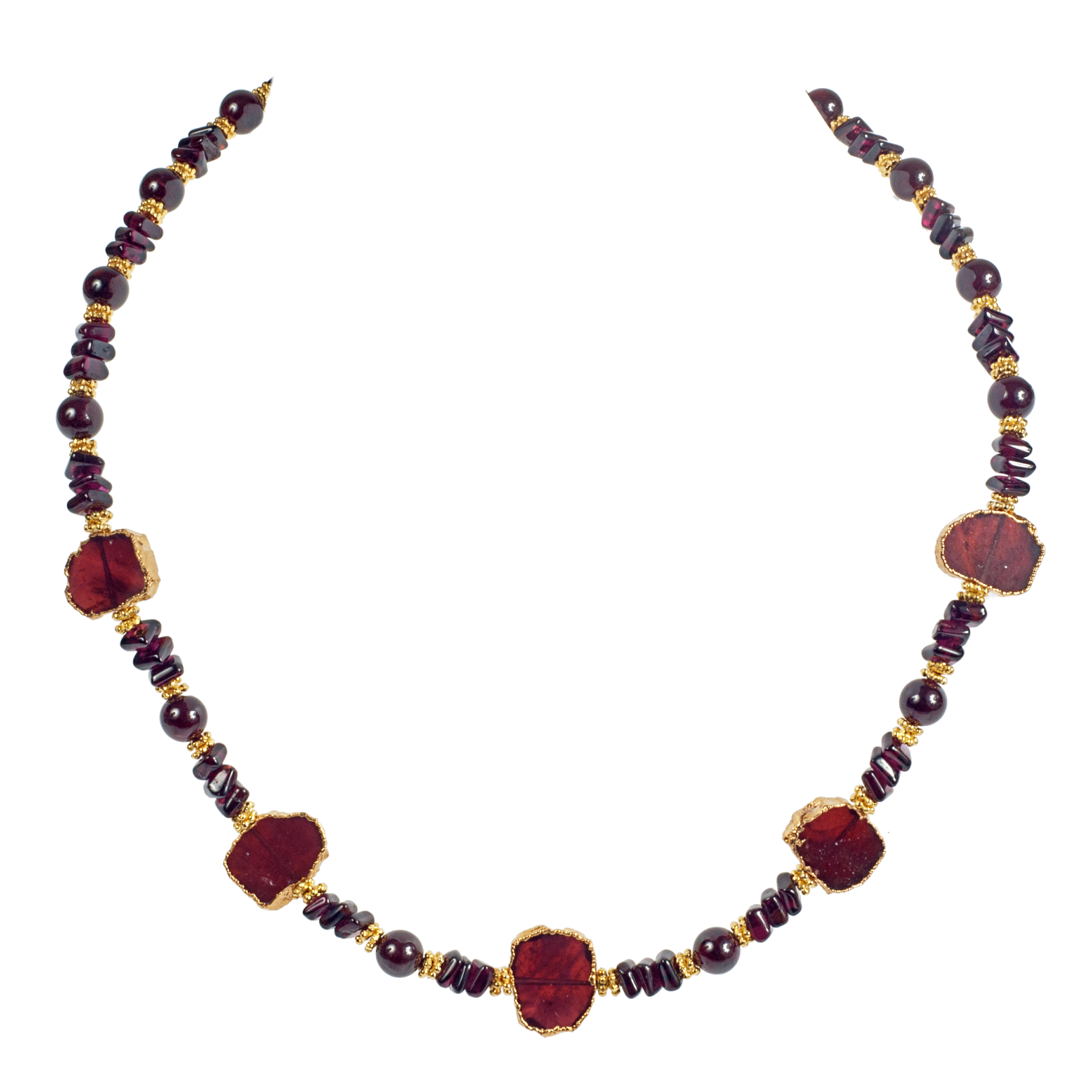 Garnet Slices And Square Cut Long Necklace - KJKStyle