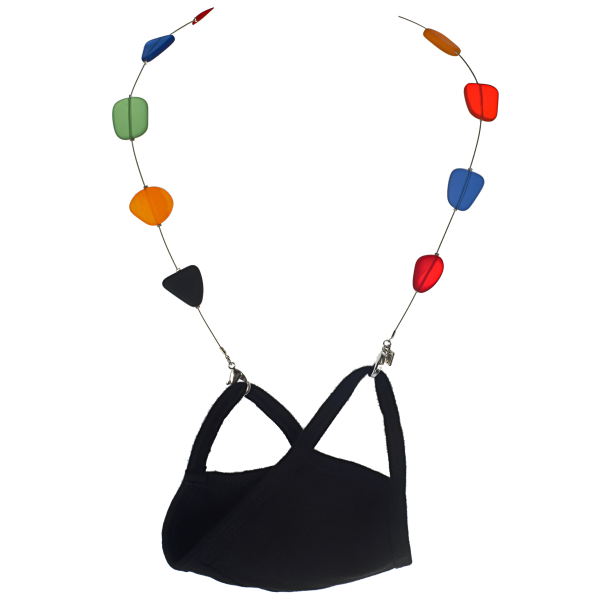 Floating Rainbow Recycled Glass Mask Necklace - KJKStyle