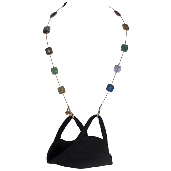 Floating Gemstone Squares Mask Necklace - KJKStyle