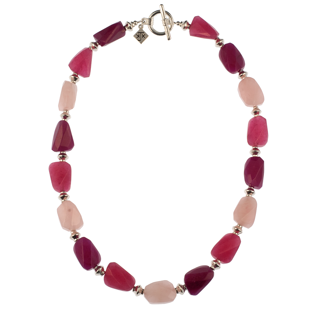 Faceted Jade And Rose Quartz Necklace - KJKStyle