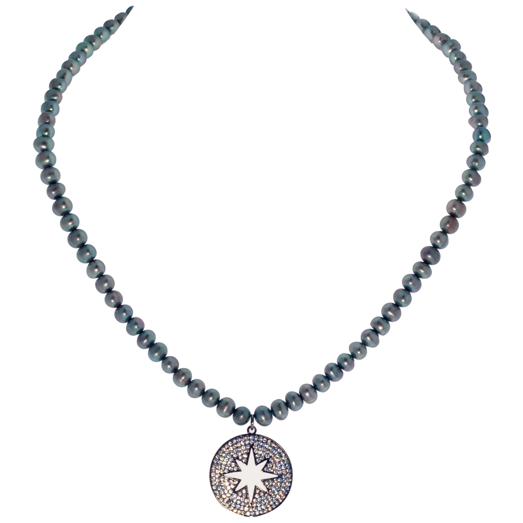 Starburst Pavé Coin Pendant on Peacock Cultured Pearl Necklace - KJKStyle