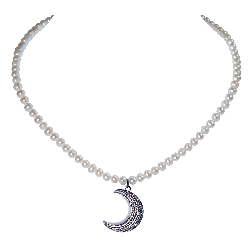 Pavé Crystal Moon Pendant on White Cultured Pearl Necklace - KJKStyle