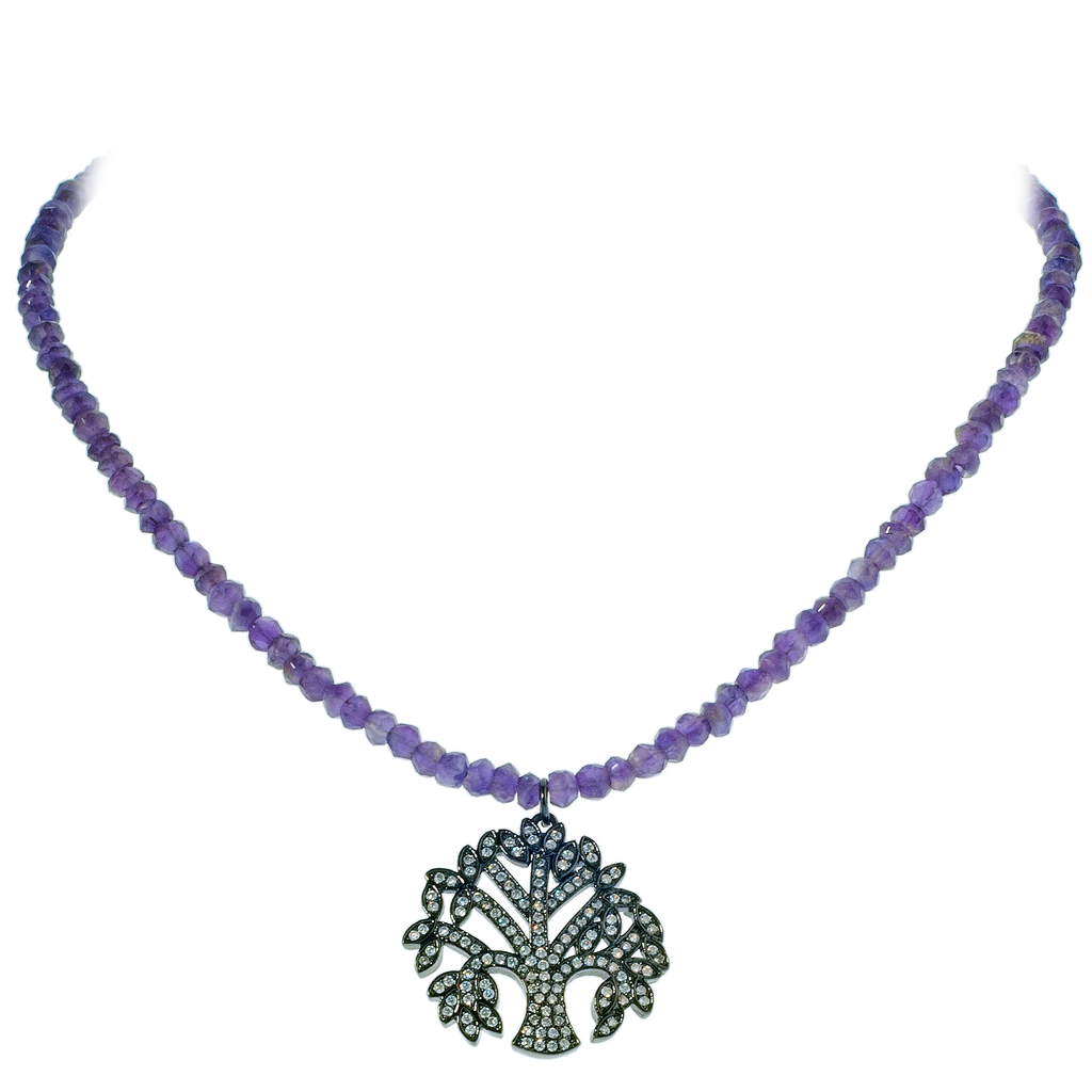 Pavé Crystal Tree of Life Pendant on Faceted Amethyst Necklace - KJKStyle