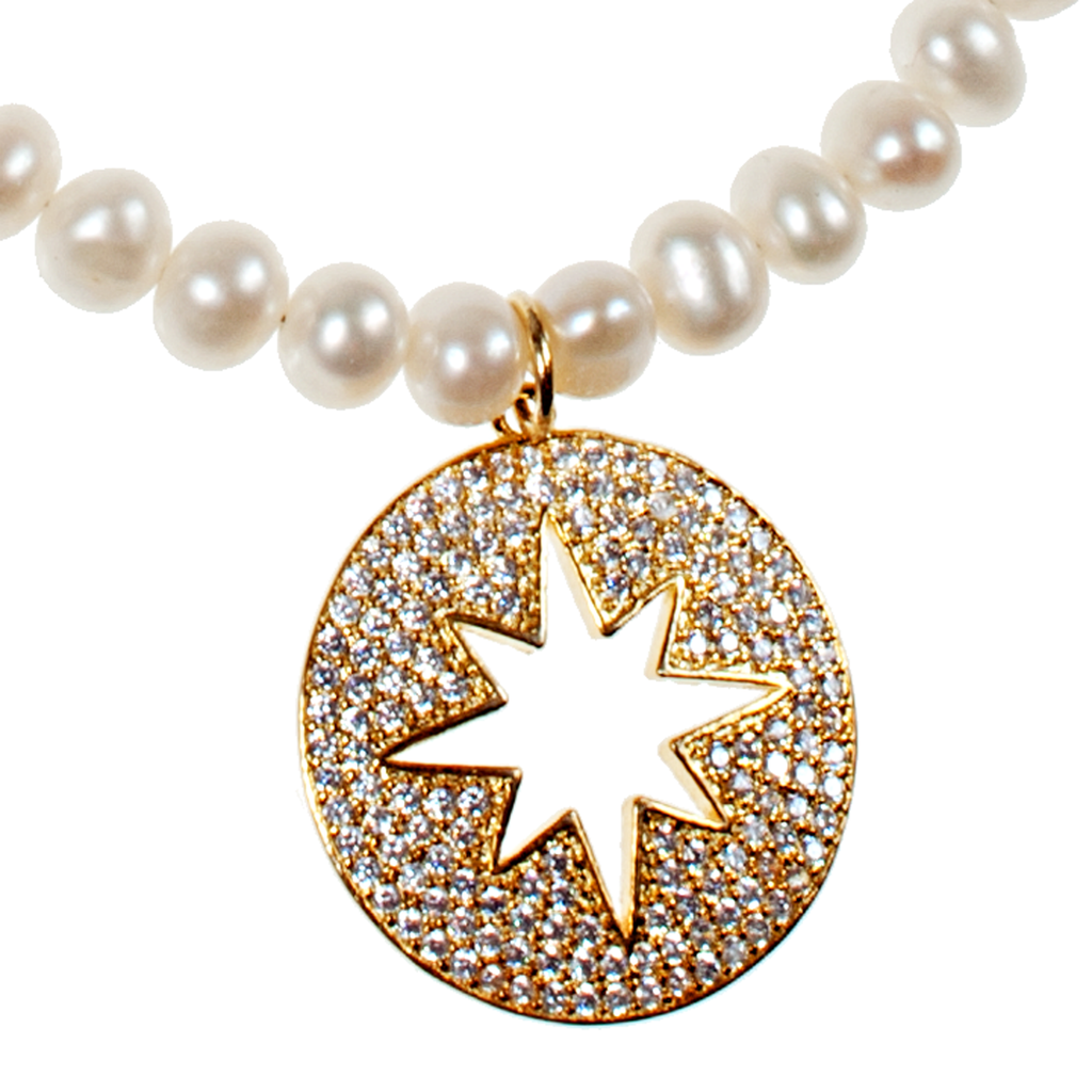 White Cultured Pearl & Gold Moon Pavé Pendant - KJKStyle