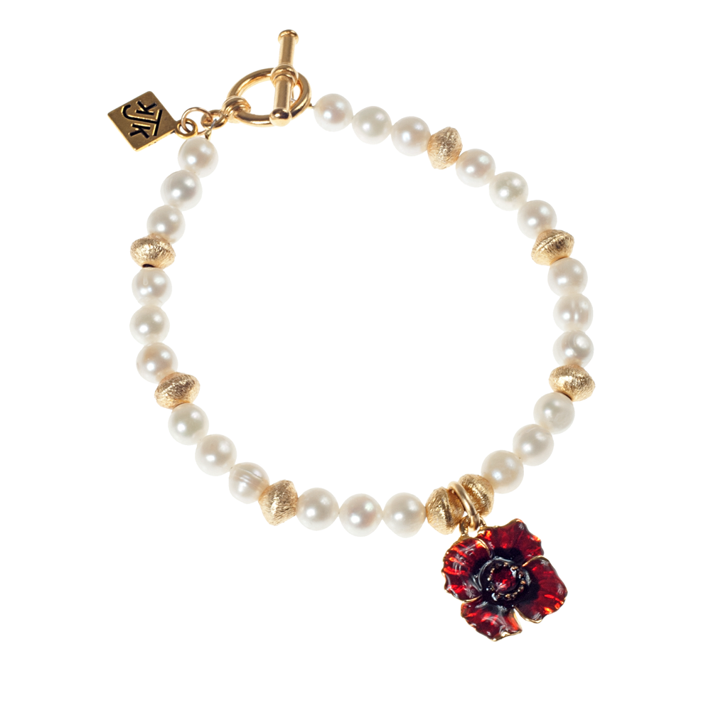 Red Enamel Poppy, Brushed Gold & Cultured Pearl Bracelet - KJKStyle