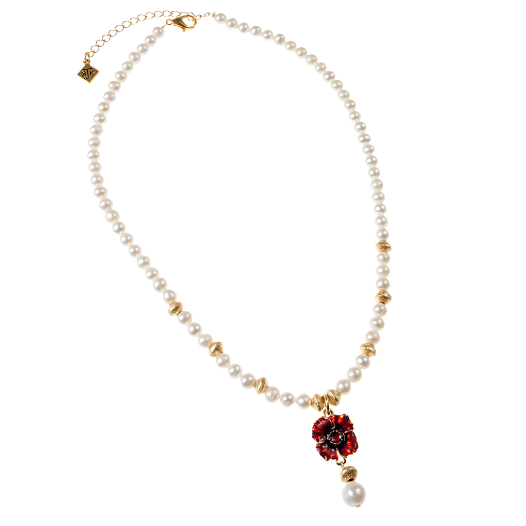 Red Enamel Poppy, Brushed Gold & Cultured Pearl Necklace - KJKStyle