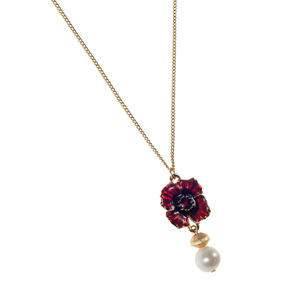 Red Enamel Poppy, Brushed Gold & Cultured Pearl Chain Necklace - KJKStyle