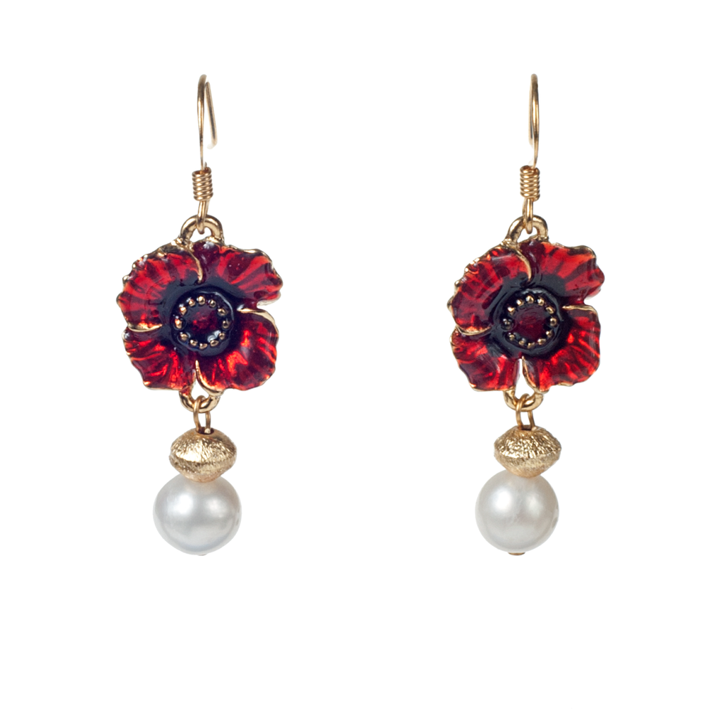 Red Enamel Poppy, Brushed Gold & Cultured Pearl Earrring - KJKStyle