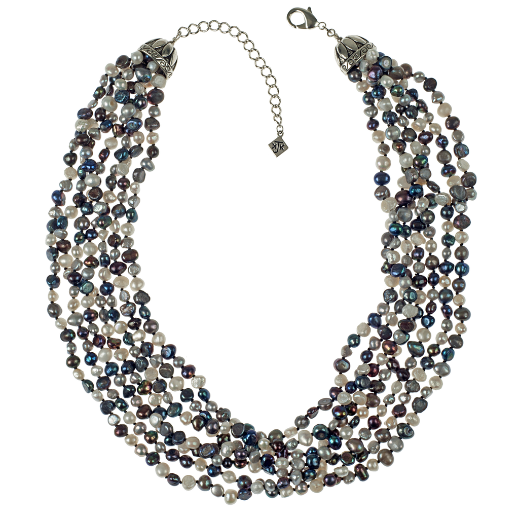 Seven Strand Cultured Pearl Necklace - KJKStyle