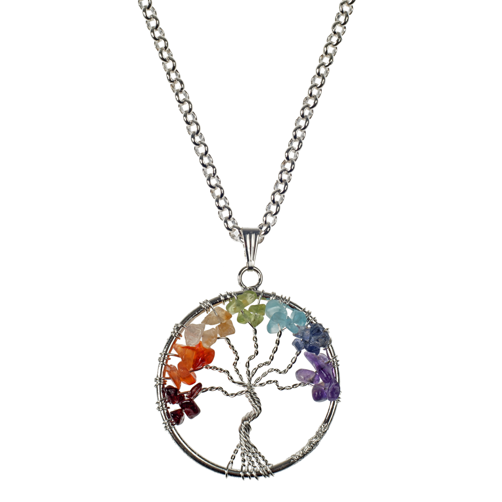 Wrapped Tree Of Life Stone Pendant On Silver Chain Necklace - KJKStyle