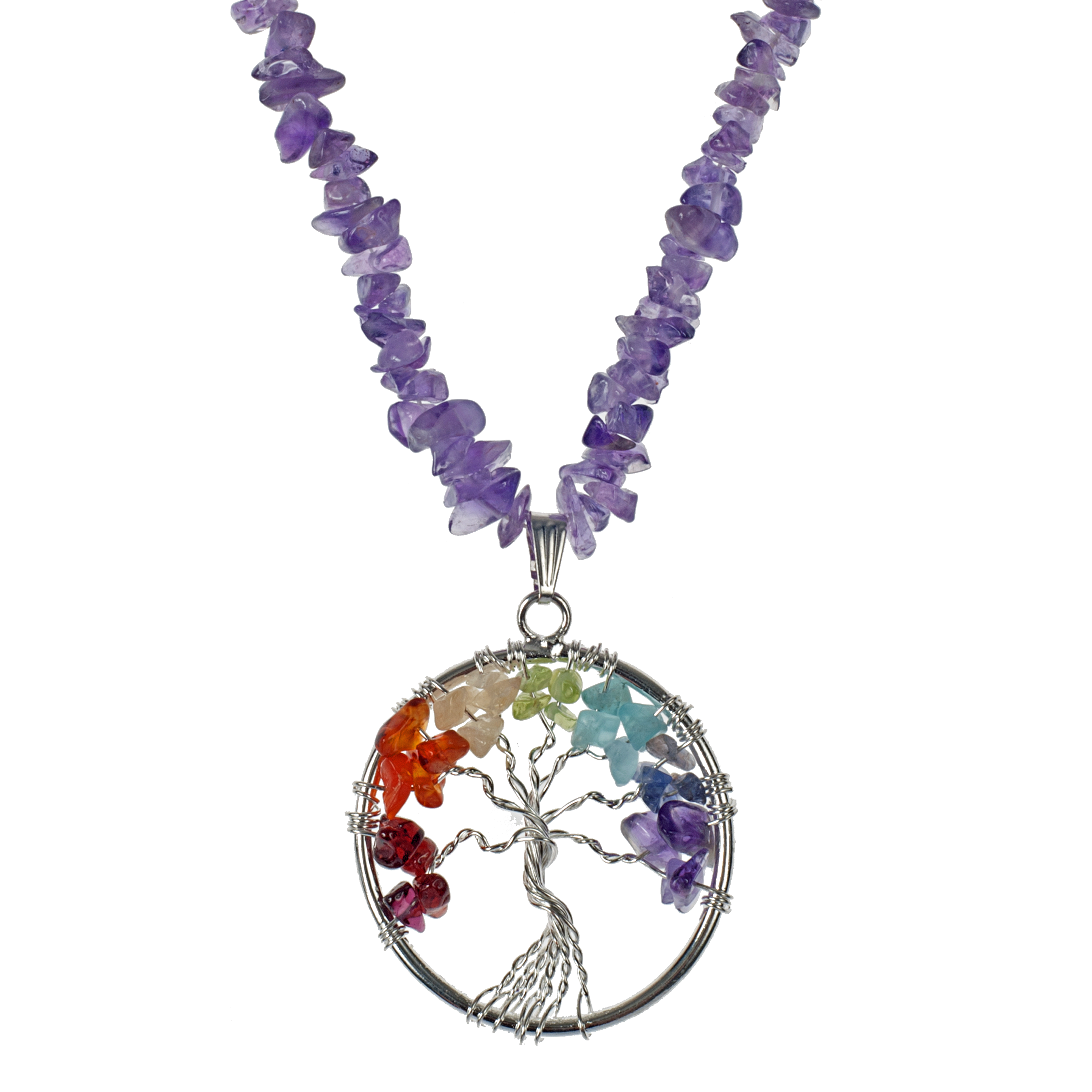 Wrapped Stone Tree Of Life On Amethyst Chips - KJKStyle