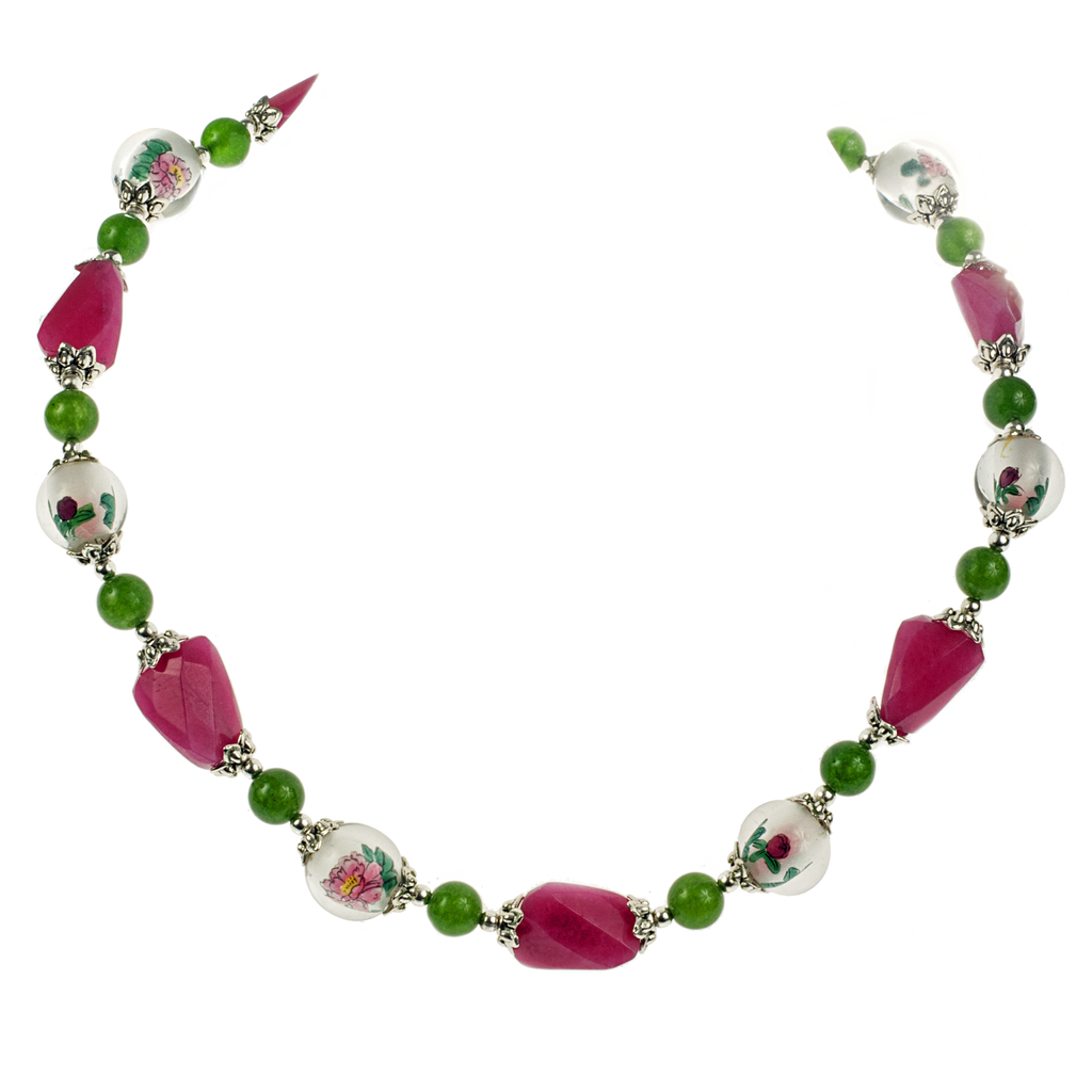 Reverse Painted Floral Glass with Jade Necklace - KJKStyle