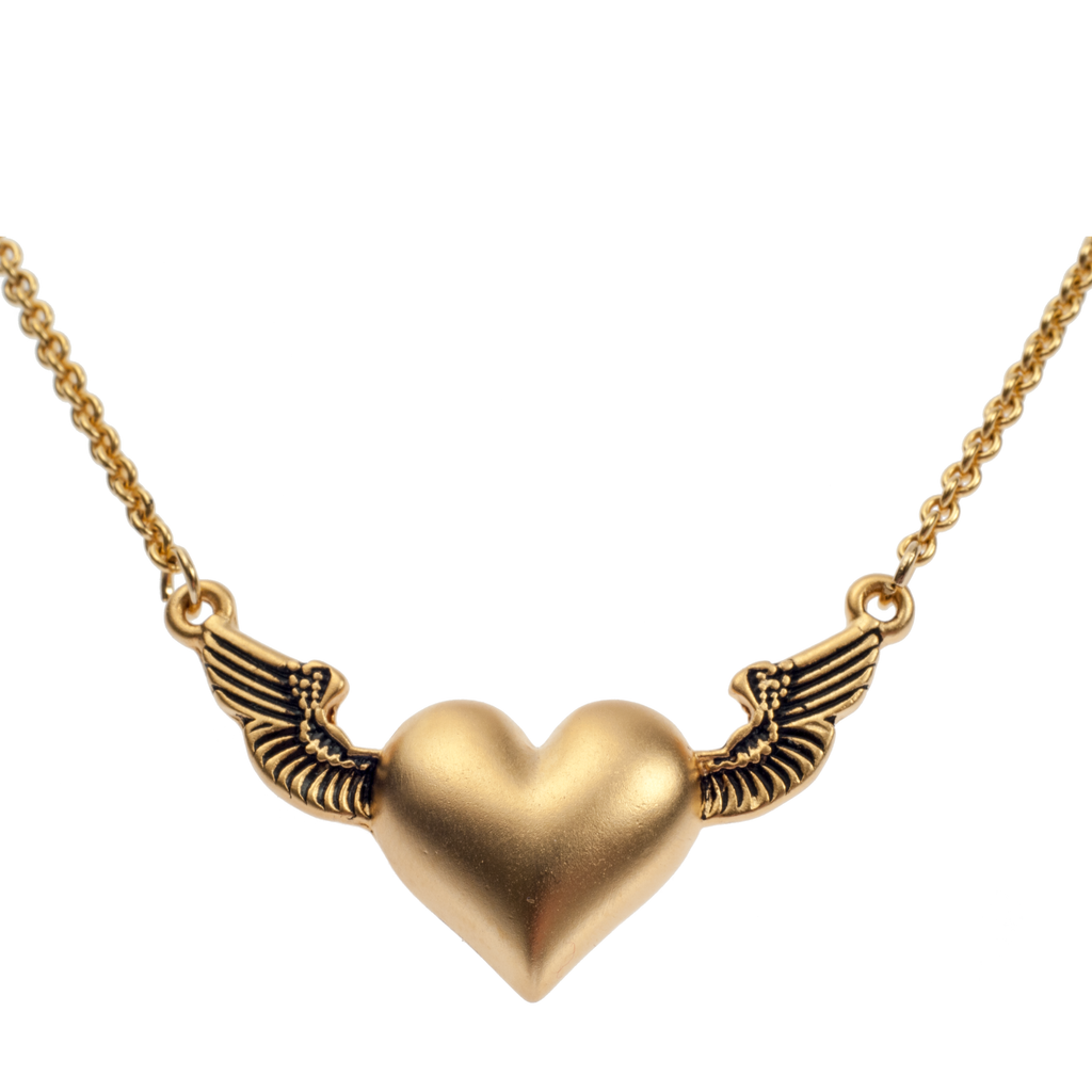 Gold Winged Heart Pendant - KJKStyle