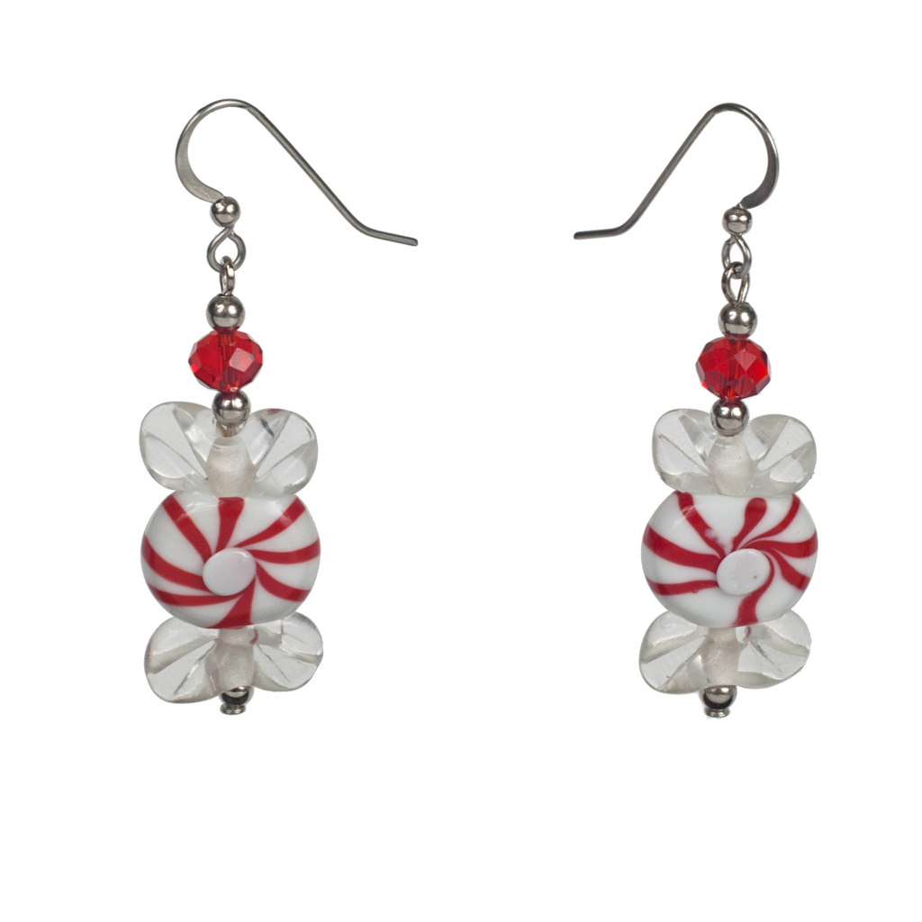 Handmade Peppermint Glass Earrings - KJKStyle