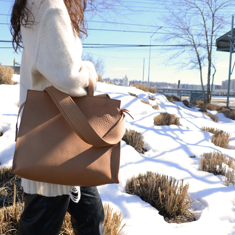 MINI Lucy leather tote by Shana Luther