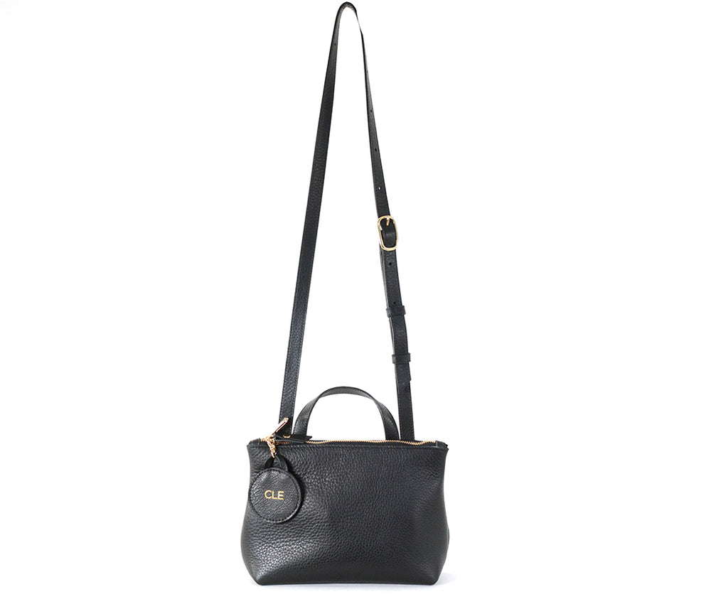 black leather coco crossbody