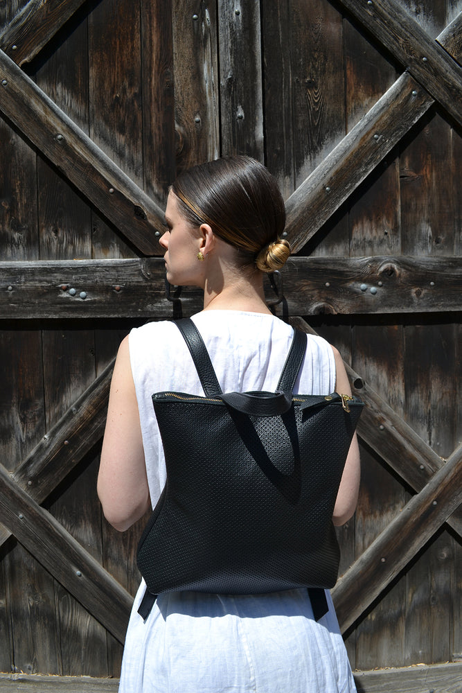 Load image into Gallery viewer, Black leather backpack by Shana Luther