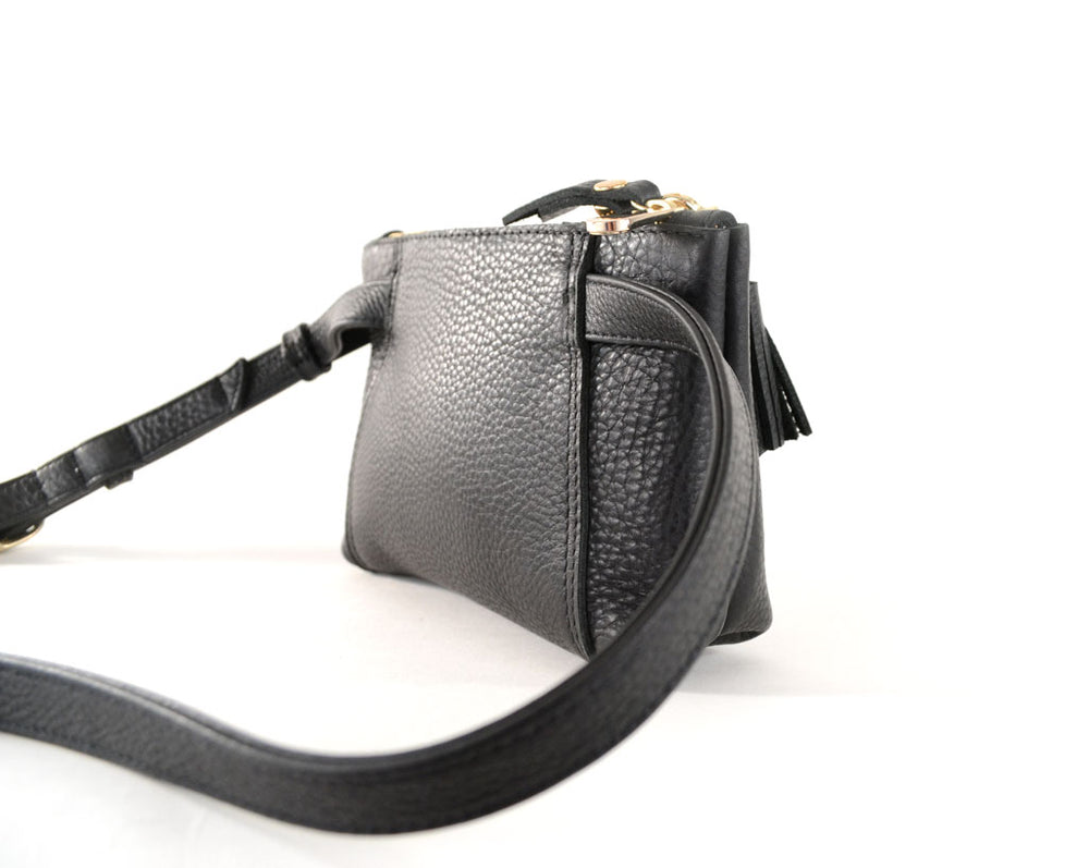 Load image into Gallery viewer, Sammy Waist Bag- Black Perforated Leather