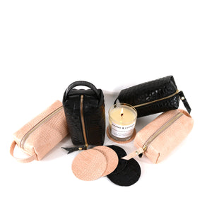 Load image into Gallery viewer, Candle and Leather Makeup Dopp kit gift set by Shana Luther