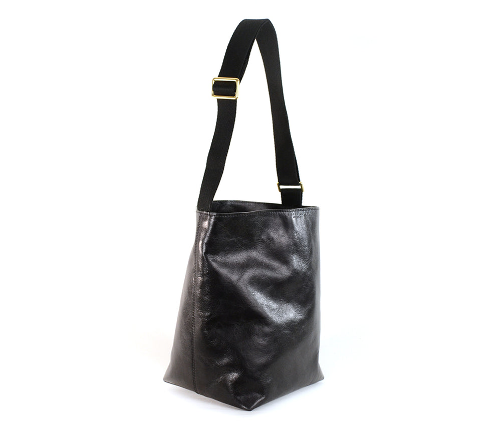Load image into Gallery viewer, Black leather bucket bag by Shana Luther