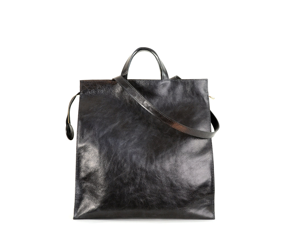 Black Leather Lucy Tote by Shana Luther