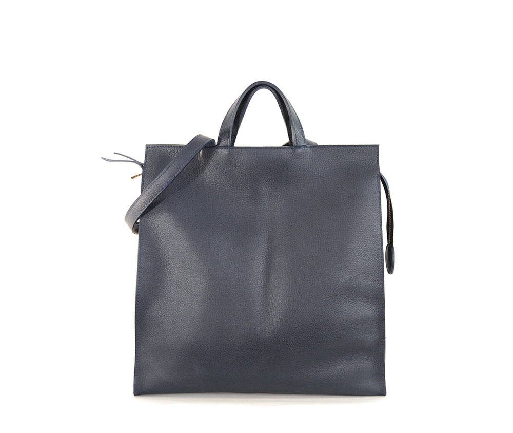 Navy Leather Tote by Shana Luther