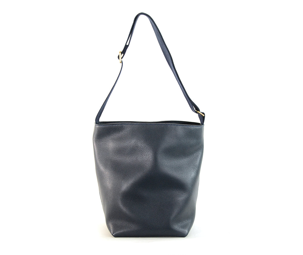 Navy Leather Bucket Bag by Shana Luther