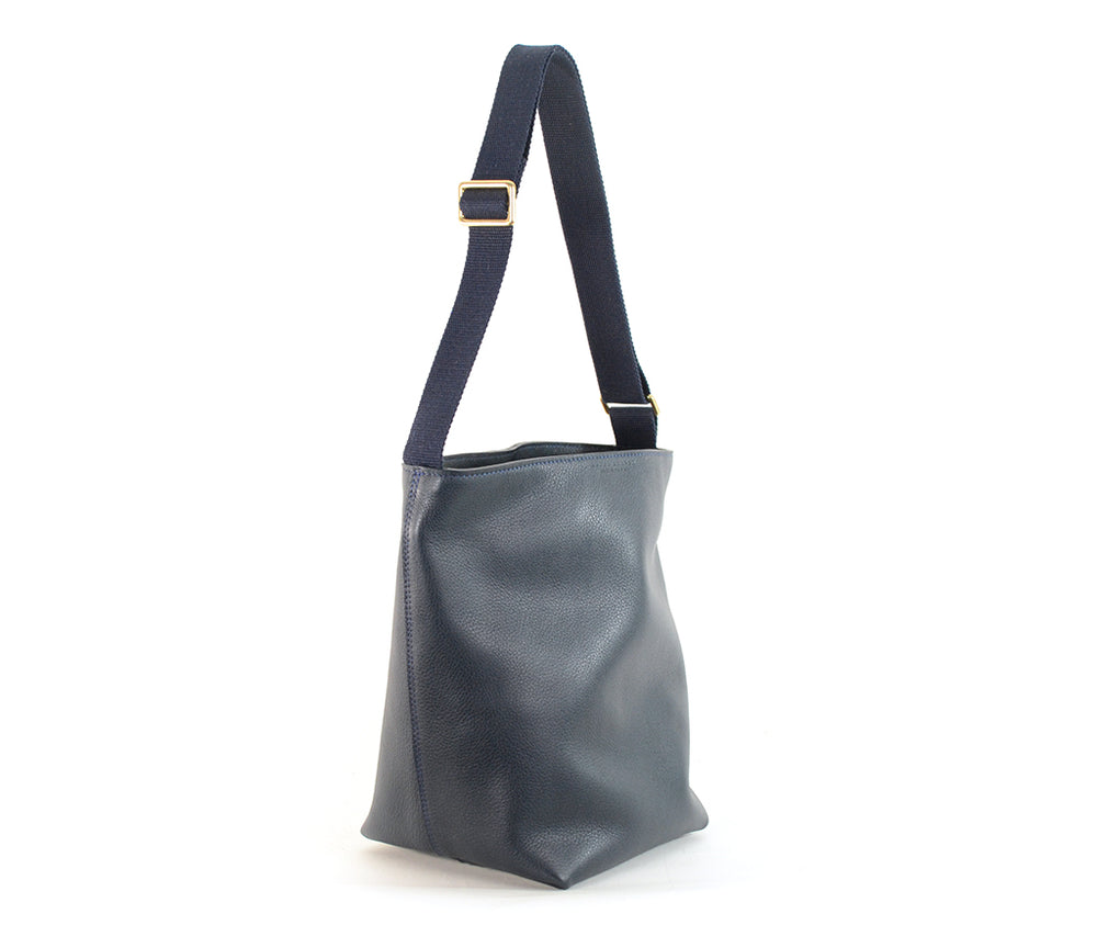 Load image into Gallery viewer, Navy Leather Bucket Bag by Shana Luther