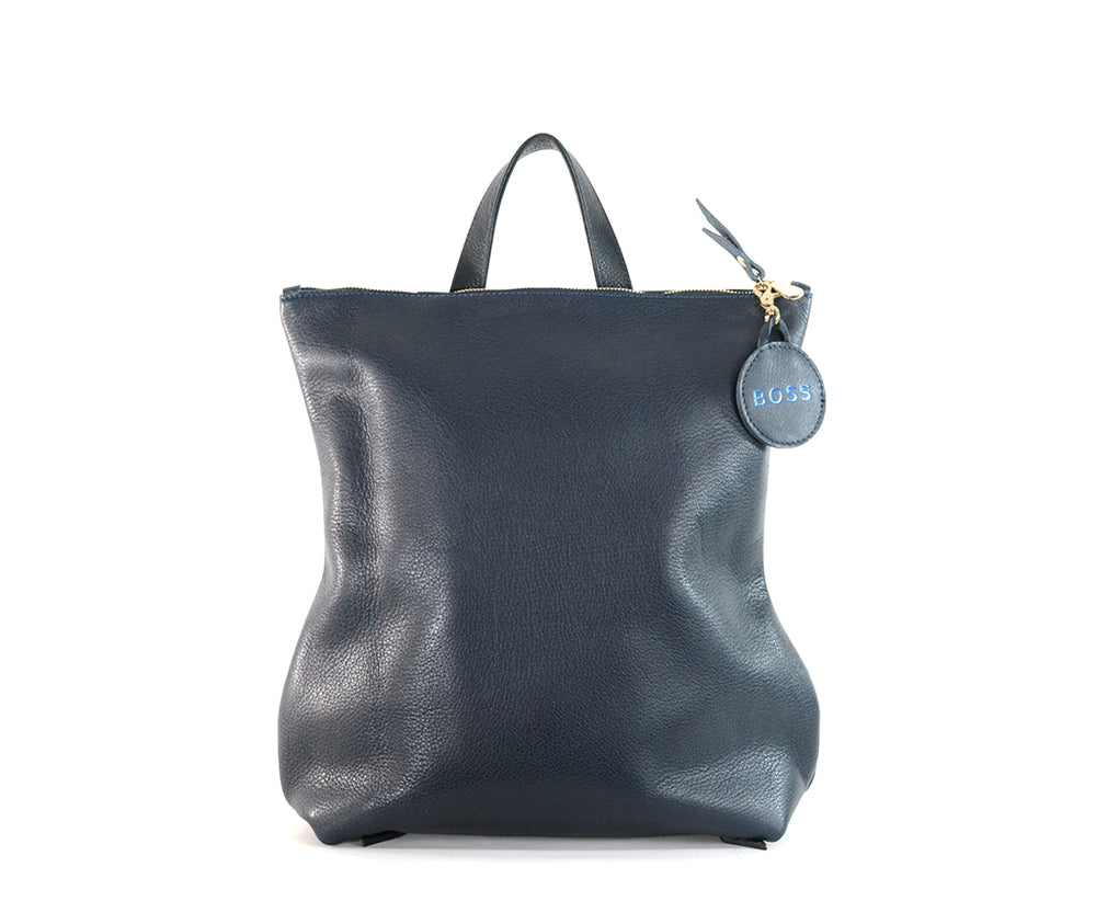 Navy Leather Backpack by Shana Luther