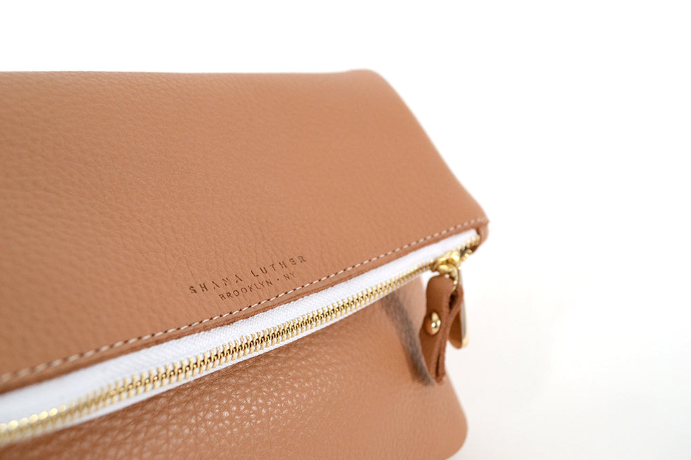 Load image into Gallery viewer, Camel Leather fold over clutch by Shana Luther