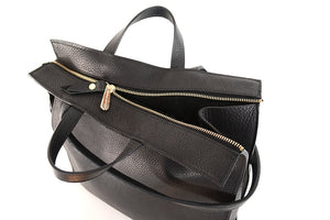 Load image into Gallery viewer, Black Leather Tote by Shana Luther