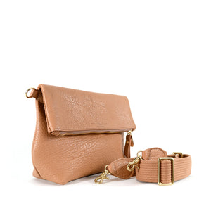Load image into Gallery viewer, Fold over leather clutch with strap by Shana Luther