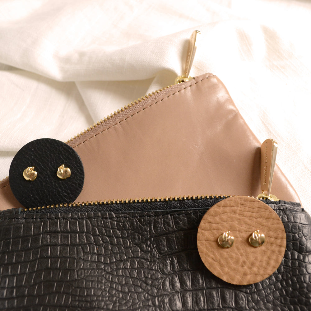 Load image into Gallery viewer, Big apple vintage earrings and leather pouch combo by Shana Luther