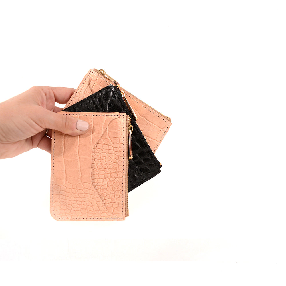 Load image into Gallery viewer, Croc Embossed top zip wallets by Shana Luther, made in Brooklyn, leather wallets