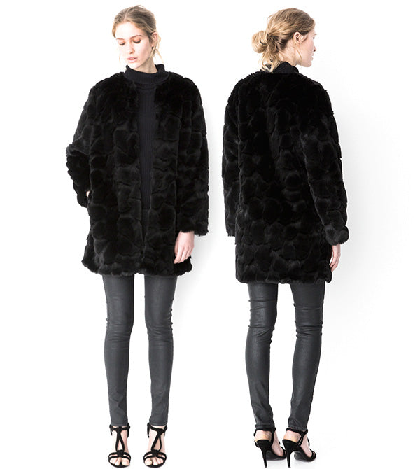 Storm & Marie Ina LJA Long Jacket Black - Fake Fur Jakke