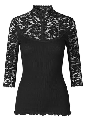 Rosemunde Blondebluse med turtleneck 4882 Black