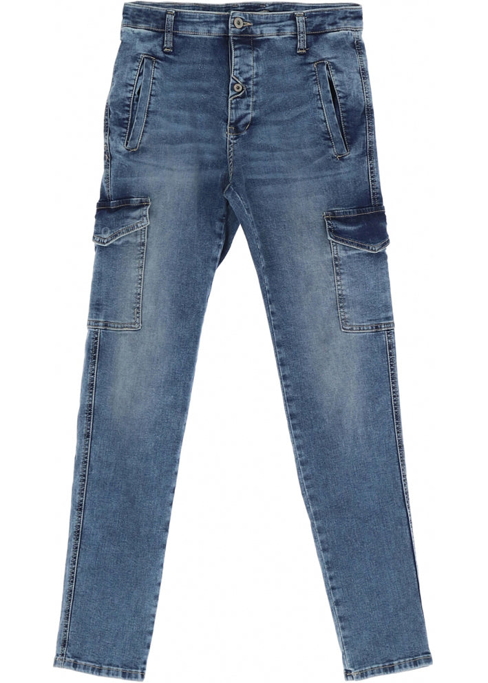 Please Cargo Denim London Jeans - blu denim