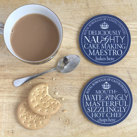 Hot Chef & Naughty Cake-Maker Blue Plaque Coasters