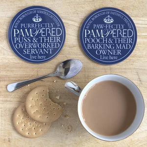 Barking Mad Owner & Pampered Puss Blue Plaque Coasters