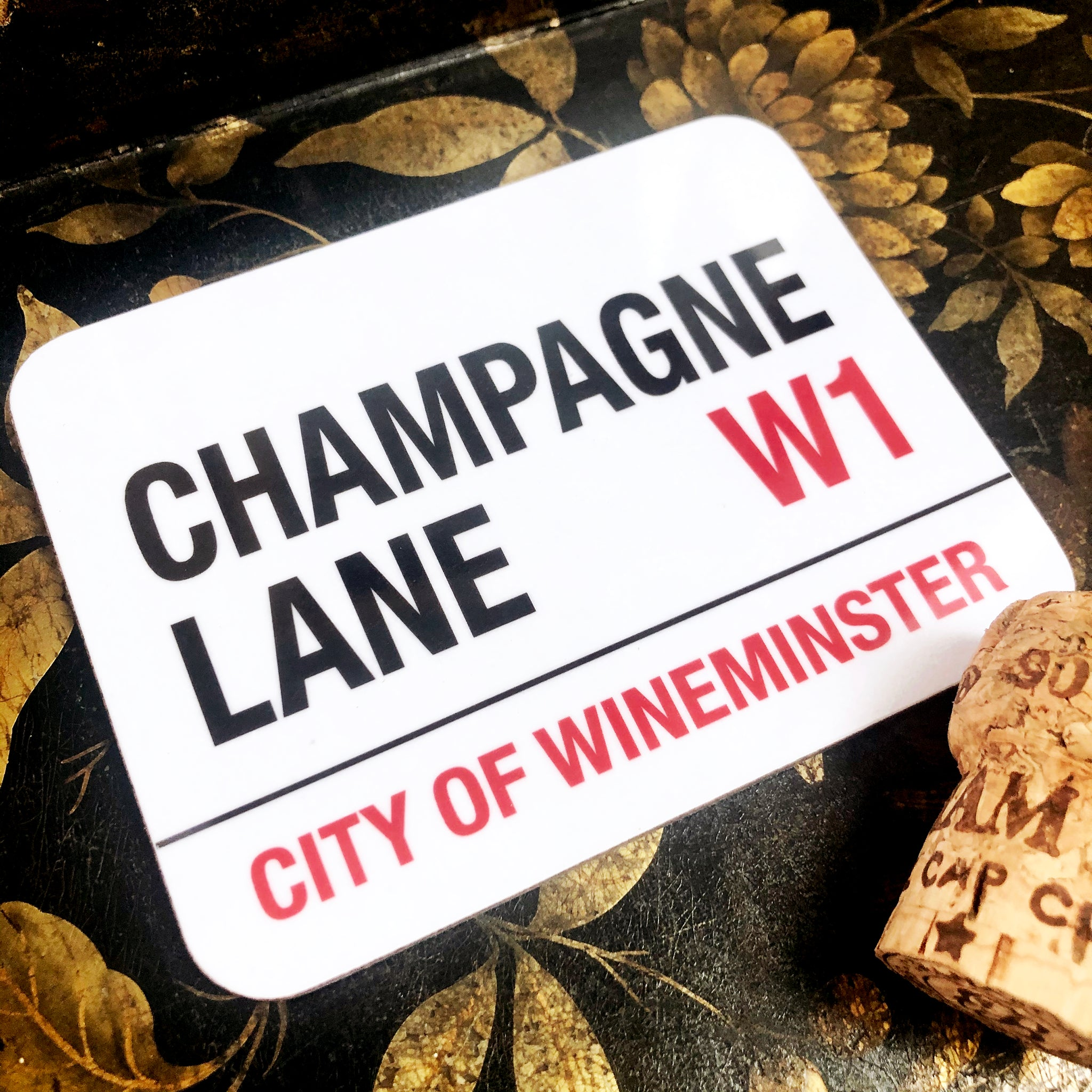 Champagne Lane Wineminster Coaster