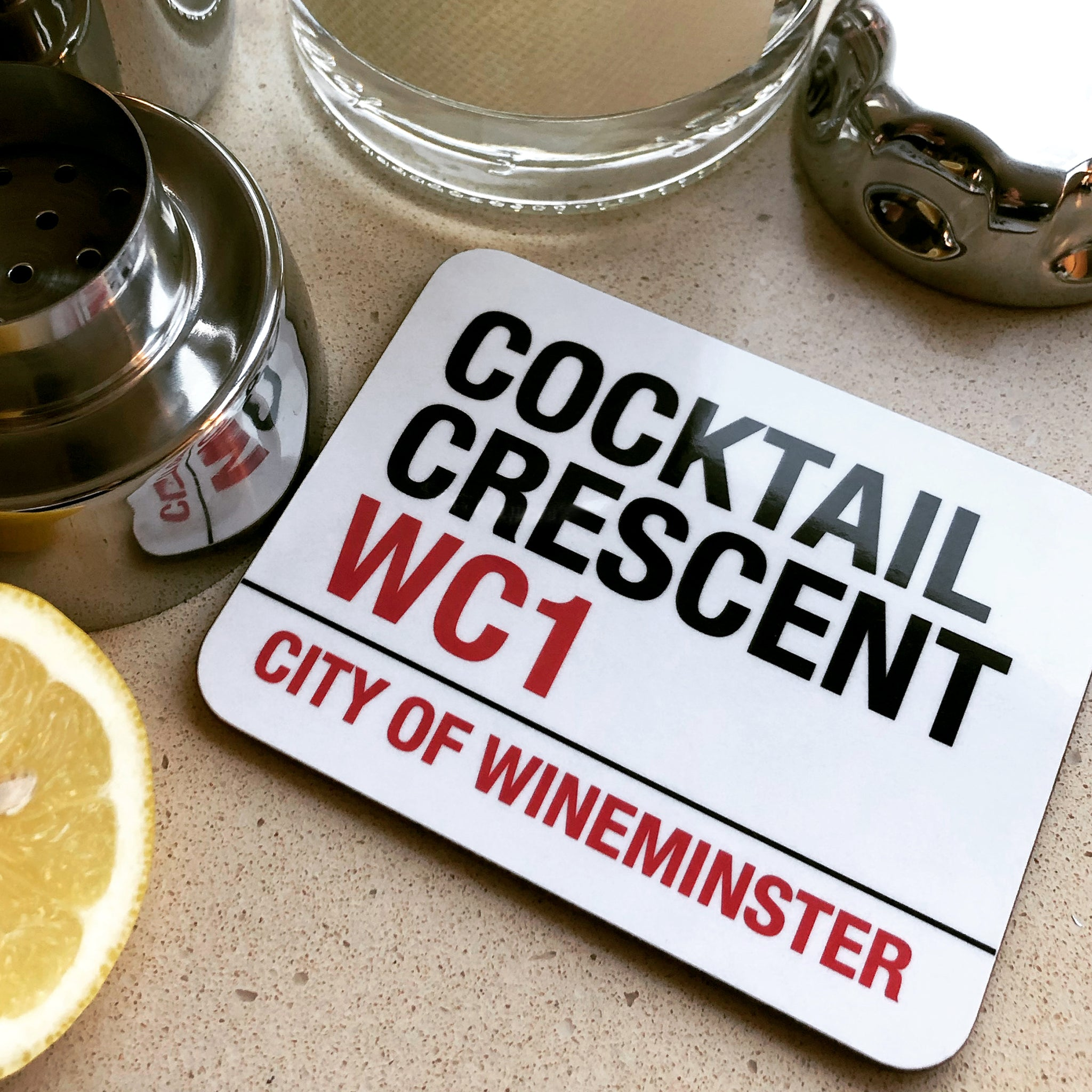 Cocktail Crescent Wineminster Coaster