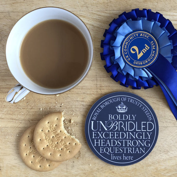 Headstrong Equestrian Blue Plaque Coaster