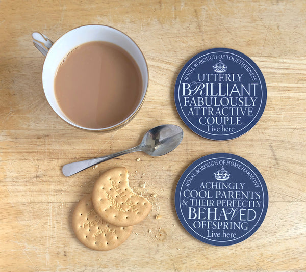 Brilliant Couple & Cool Parents Blue Plaque Coasters
