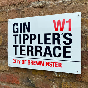 Gin Tippler's Terrace Metal Sign